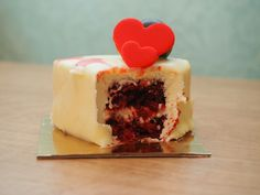 Red velvet and white chocolate cake for Valentine's Day. Picture taken with olympus digital camera