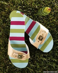 Embellished Sandals - Use different colors of acrylic paint to embellish a pair of sandals.