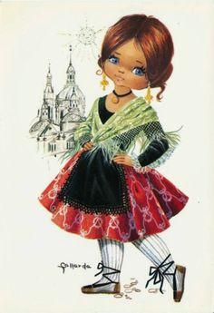 Big Eyed Gallarda Girl Postcard