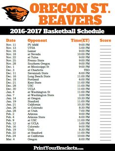 Oregon State Beavers 2016-2017 College Basketball Schedule