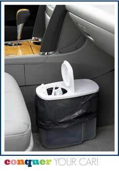 Great idea for an in-car garbage container!