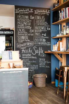 Tagescafé in Schwabing Vintage Cafe Design, Small Cafe Design, Italian Interior Design, Restaurant Interior Design, Interior Shop, Farrow Ball, Café Design, Frugal, Cafe Display