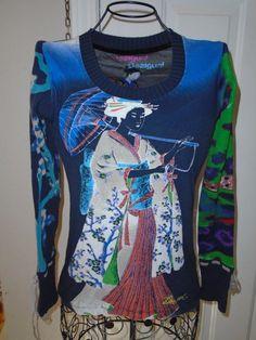 DESIGUAL Design Art for Wear Geisha Girl with Dog Long Sleeve Top Shirt sz S-M #Desigual #KnitTop #Casual