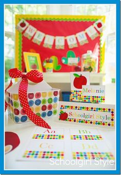 Primary classroom decor, apple classroom decor, Eric Carle inspired classroom theme by Schoolgirl Style www.schoolgirlstyle.com