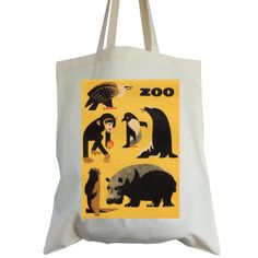 Cotton tote bag yellow ZOO animals ideal book bag by sugarushuk, £5.85