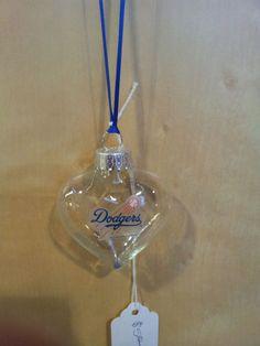 Los Angeles Dodgers 2 Heart handmade glass Christmas ornament