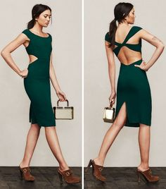 Reformation Seville Dress with a Criss-Cross Back in Green