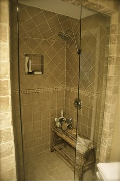 walk in shower, double shower heads - different tile, but like the layout of shower