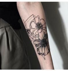 Coral geometric tattoo