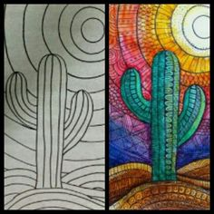 Best Picture For Cactus garden For Your Taste You are looking for something, and it is going to tell you exactly what you are looking f. art decoracion dibujo diy garden indoor painting plants drawing appartement bathroom home decor wood room decor Cactus Drawing, Cactus Art, Cactus Plants, Arte Elemental, Atelier D Art, 4th Grade Art, Mexican Art, Art Plastique, Art Activities