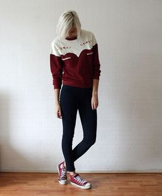 Embroidered burgundy (by Sietske L) http://lookbook.nu/look/4393359-Embroidered-burgundy