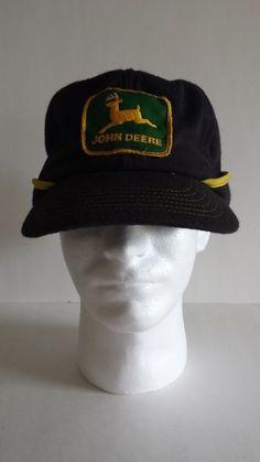 7d010a95122 JOHN DEERE 70s 80s Earflaps Neck Flap Black Yellow Hat Cap PATCH Vintage Man  Cave Items
