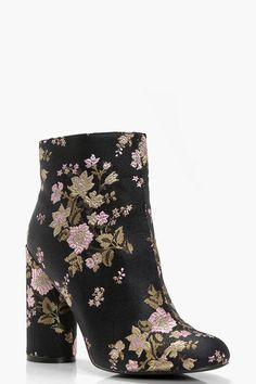 22ee10cfe16 Fiona Floral Embroidered Cylinder Heel Boot Shoe Sale