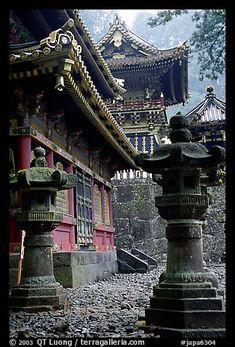 Urns, pavilion, and main hall in Tosho-gu Shrine. Nikko, Japan