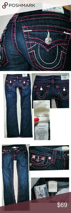 TRUE RELIGION PINK STITCH BOOTCUT JEANS SIZE 0 24 Hemmed Authentic  No flaws. See pics for measurements.  No trades -Sorry True Religion Jeans Boot Cut