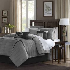Refresh your master suite or guest room in classic style with this lovely duvet cover set, showcasing a striped motif for charming appeal.  ...
