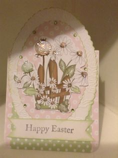 Easter card using an oval Jus Cutz die and Polkadodles C D