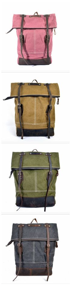 Vintage Style Waxed Canvas Backpacks with Leather Trim Canvas Leather, Leather Bags, Leather Men, Canvas Backpacks, Leather Backpacks, Rucksack Backpack, Messenger Bag, Macho Alfa, Bag Pack