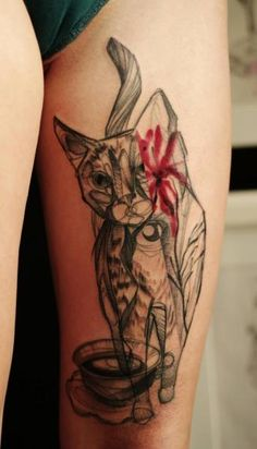 Abstract Cat Tattoo by Marta Lipinski