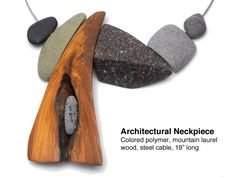 Architectural Neckpiece - coloured polymer, mountain laurel wood, steel cable - by Kathleen Dustin