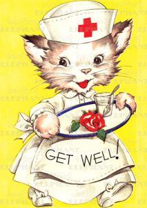 Get well soon says the cute vintage kitty cat nurse. Vintage Cards, Vintage Postcards, Old Greeting Cards, Get Well Wishes, Vintage Nurse, Gatos Cats, Get Well Soon, Cat Cards, Get Well Cards