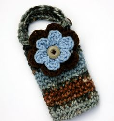 Crochet+Cell+Phone+Pouch | Flower Cell phone case or cozy crocheted in autumn theme colors dusty ...