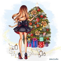 Bag Design, Design Ideas, Watercolor Girl, Fashion Bags, Girly, Wall Art, Christmas, Greeting Card, Pretty Images