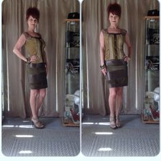 """VINTAGE OLIVE GREEN SUEDE & BROWN LEATHER SKIRT Vintage olive green suede & coffee bean brown leather pencil skirt with side zipper, fully lined, high waist with 2 snap side closure. I opted for army green ankle boots, lime green top & tie it together with olive green, gold & pink bangles!  I like the small hit of pink to add some fun to the dark colors!! Measurements waist 26"""", hips 34"""", 22"""" long.  No labels & was purchased in a boutique overseas. I also styled it with an olive green top…"""