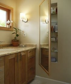 I absolutely LOVE this. Smart use of space between wall studs. Great way to include a lot of hidden storage without using up limited floor space in a small bathroom. (contemporary bathroom by Olson Design and Construction) Diy Bathroom Storage, Contemporary Bathroom, Home Projects, Home Improvement, Home Decor, Small Bathroom, Home Diy, Built In Storage, Bathroom Inspiration
