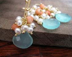 Bridesmaid Aqua jewelry sets, blue chalcedony, pearl and coral earrings & necklace, aqua necklace, m Bridesmaid Jewelry Sets, Bridesmaid Earrings, Blue Chalcedony, Blue Opal, Coral Earrings, Etsy Earrings, Bridal Party Jewelry, Bridal Necklace, Pearls
