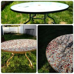 A little love and some elbow grease! Spray paint, grout and glass jewels= blinged-out new patio table!