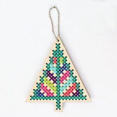 Wood Cross Stitch Ornament Kit - Christmas Tree