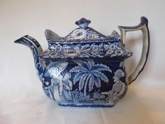 Wonderful Antique Staffordshire Dark Blue Transferware Teapot c.1820s