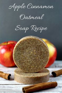 Easy 10 minute apple cinnamon oatmeal melt and pour soap recipe.