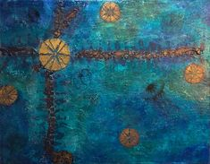 """""""Sea Urchin Medley"""" by Sue Clover. Many layers of acrylic paint and gel, interference paint, texture paste, and image transfers. Texture Paste, Paint Texture, Collage Art, Alaska, Mixed Media, Gold, Pendant, Image Transfers, Sea Urchin"""