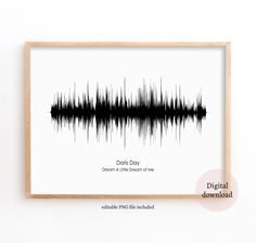 Sound Wave Art, Doris Day - Dream A Little Dream of Me, Soundwave print, Printables files, Large Poster, Soundwave Print, Music Artwork Print Music, Music Artwork, Wave Art, Sound Waves, Hair Accessories, Printables, Unique Jewelry, Handmade Gifts