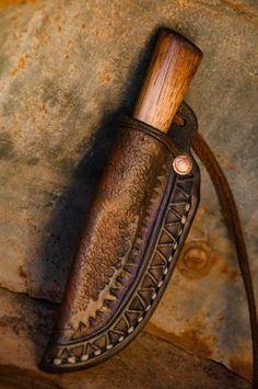 Rustic Neck Knife and Custom Leather sheath by PWTradeGoods Leather Art, Custom Leather, Leather Tooling, Trench Knife, Neck Knife, Bushcraft Knives, Best Pocket Knife, Pocket Knives, Hard Metal
