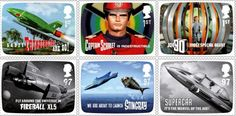 British stamps honouring Gerry Anderson who created the characters from cult TV programmes such as Thunderbirds, Captain Scarlet, Joe 90, Fireball XL5,  Stingray, and Supercar.