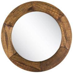 Round Rustic Wall Mirror Large Stained Wood Bedroom Hall Accent Bathroom Vanity  #NeedfulThings #Rustic