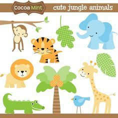 Jungle animals clip art - designs for homemade invitations, labels and banners.