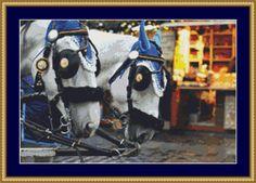 Harnessed Horses Cross Stitch Pattern