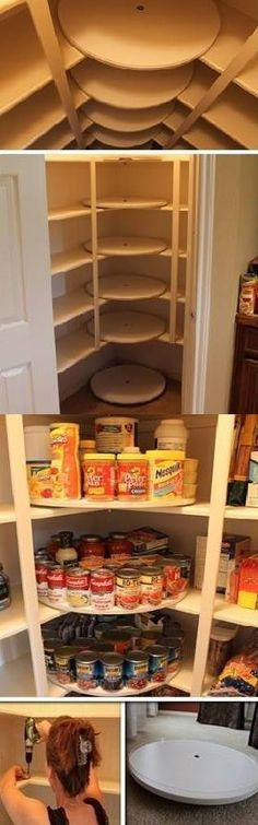 Your Pantry: DIY Lazy Susan Pantry: This would be great for a small kitchen with limited storage space.Organize Your Pantry: DIY Lazy Susan Pantry: This would be great for a small kitchen with limited storage space. Pantry Makeover, Pantry Diy, Pantry Ideas, Pantry Storage, Hidden Storage, Diy Storage, Garage Storage, Pantry Shelving, Small Storage