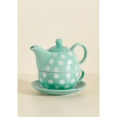 Statement Spots of Tea Set ($40) ❤ liked on Polyvore featuring home, kitchen & dining, teapots, blue tea set, ceramic teapots, blue teapot, blue tea pot and ceramic tea sets