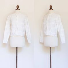 vintage 1960s white cotton embroidered blouse 50s 60s Ardee
