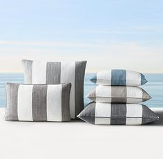 """Custom Perennials® Marseille Cabana Stripe Pillow Cover (other colors available) 20"""" sq. 22"""" sq. 24"""" sq. 12"""" x 18"""" 13"""" x 21"""""""