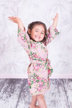 SALE flower girl junior kids Bridesmaids Robes Kimono Crossover Robe Bridesmaids gifts Getting ready Bridal Party Robes Floral Dressing Gown
