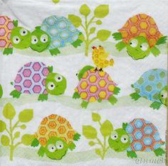 Buy 7 PCs napkins for decoupage cute turtles print decoupage - white background