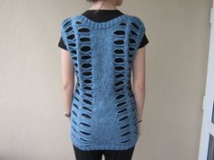 Hole Knitted Ladies Tunic. OOAK... by MINETSYDESIGN on Etsy, $90.00