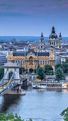 Download Wallpaper 1080x1920 Budapest, Hungary, Szechenyi chain bridge, river, Danube, city, Architecture, Nature Sony Xperia Z1, ZL, Z, Samsung Galaxy S4, HTC One HD Background