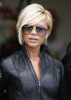 Victoria Beckham Short Inverted Bob Haircut with Bangs More